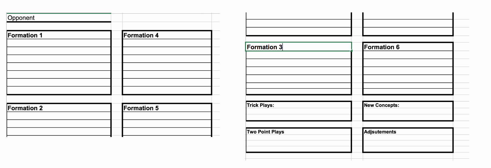 Football Play Call Sheet Template Excel Inspirational Coach Vint Developing An Fensive Game Plan and Call