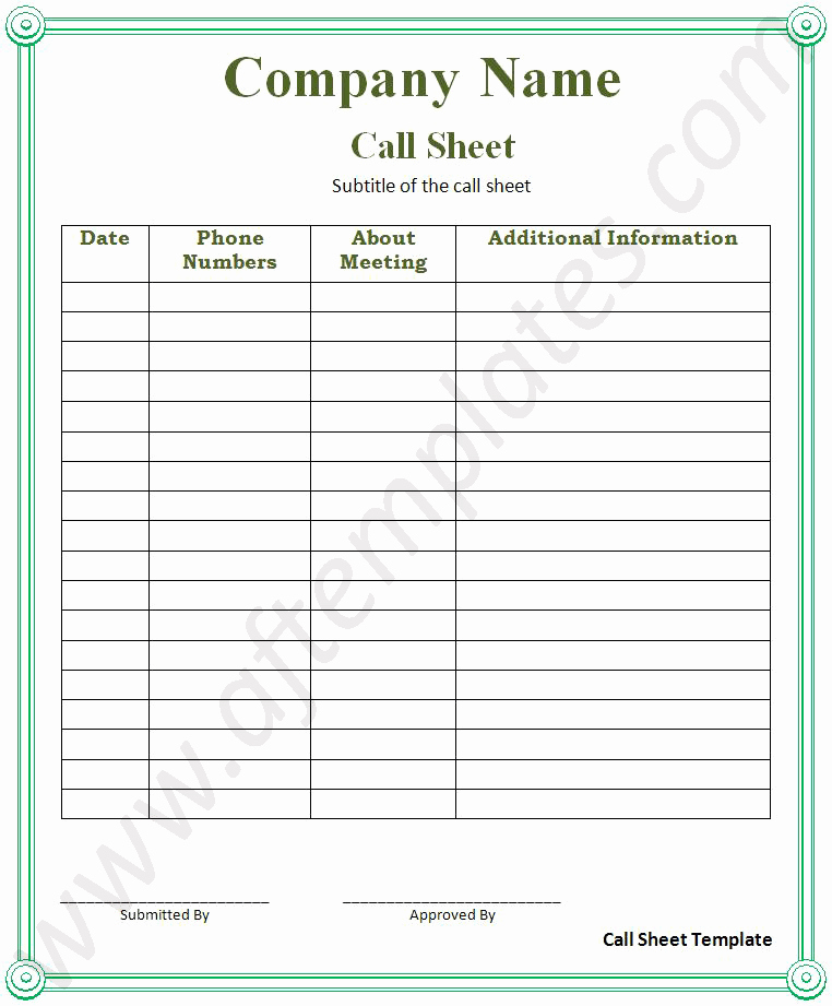 Football Play Call Sheet Template Excel Luxury Call Sheet Template