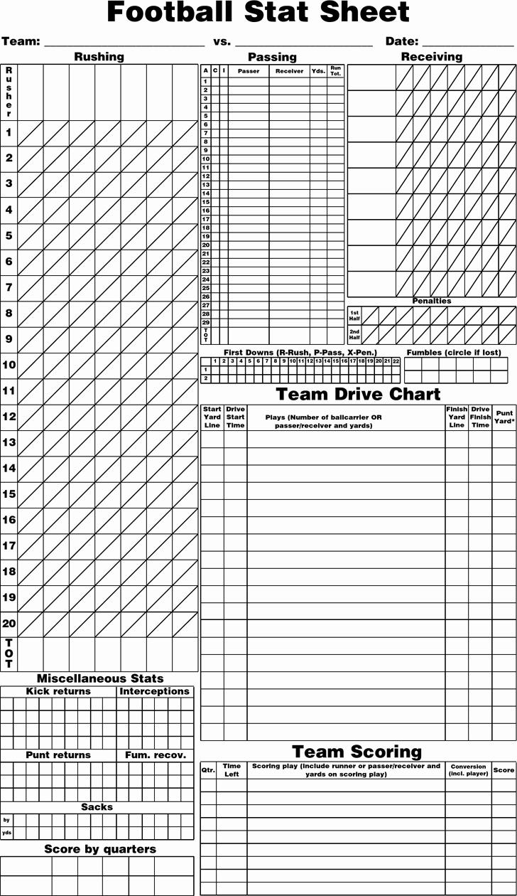 Football Play Sheet Template Luxury Free Blank Football Stat Sheet Pdf 12kb