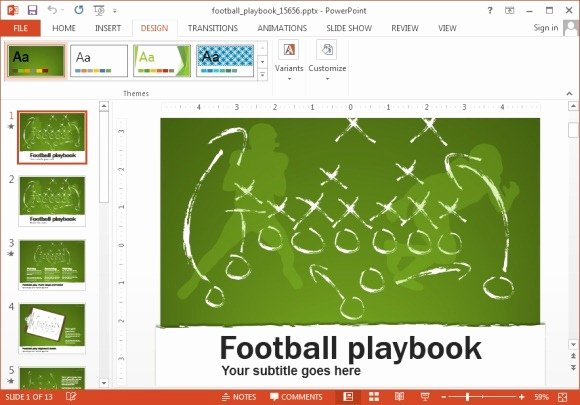 Football Play Template Elegant Animated Football Playbook Powerpoint Template