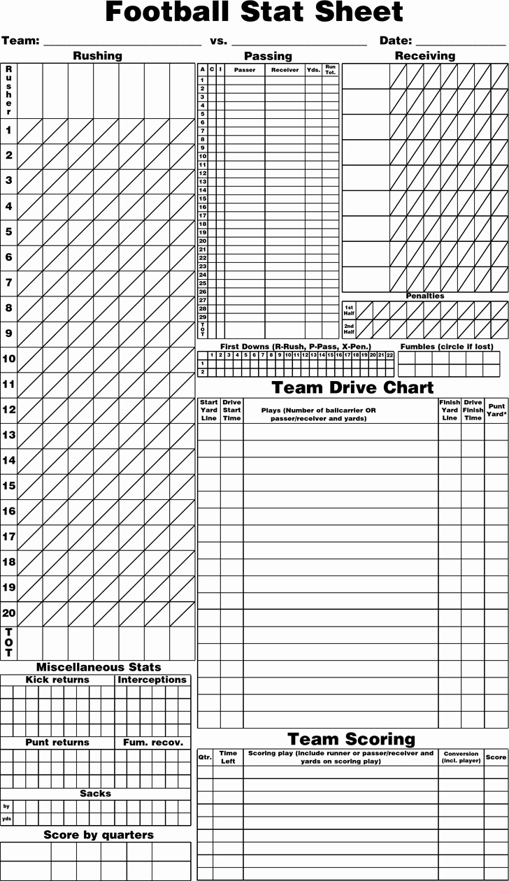 Football Play Template Printable Fresh Free Blank Football Stat Sheet Pdf 12kb