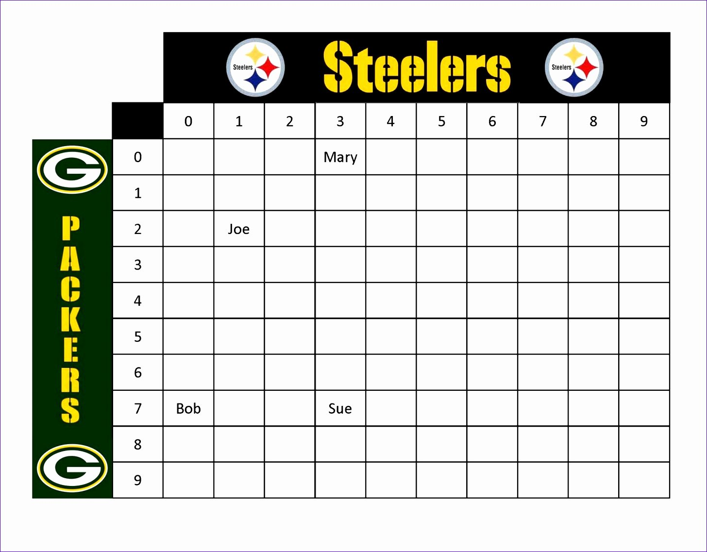 Football Pool Sheets Excel Unique 12 Football Squares Template Excel Exceltemplates