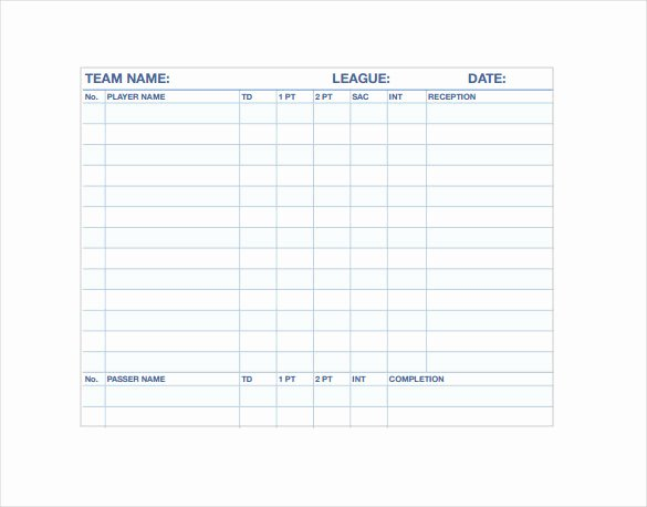 Football Stat Sheet Template Excel New Stat Sheet Template 7 Free Word Excel Pdf Documents