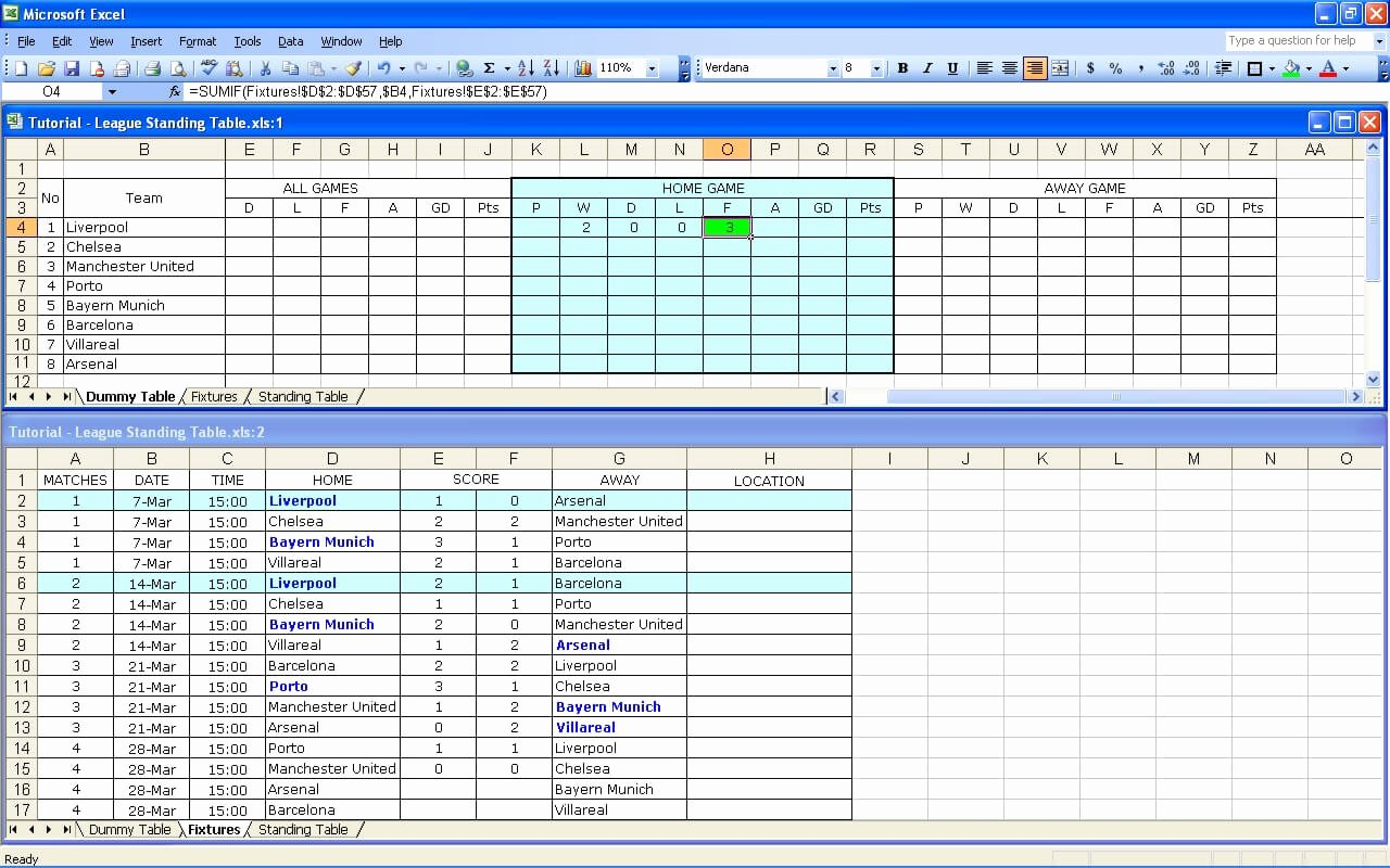 Football Stats Sheet Excel Template Elegant Create Your Own soccer League Fixtures and Table