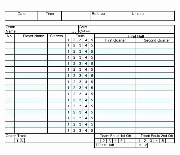 Football Stats Sheet Excel Template New 15 Stat Sheet for Basketball