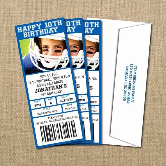 Football Ticket Birthday Invitations Awesome Football Birthday Game Ticket Invitation Digital by Perchedowl