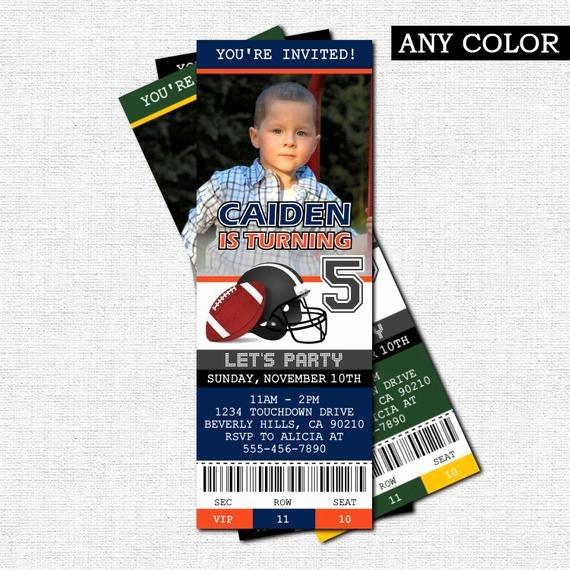 Football Ticket Birthday Invitations Awesome Football Ticket Invitations Birthday Party Print by nowanorris