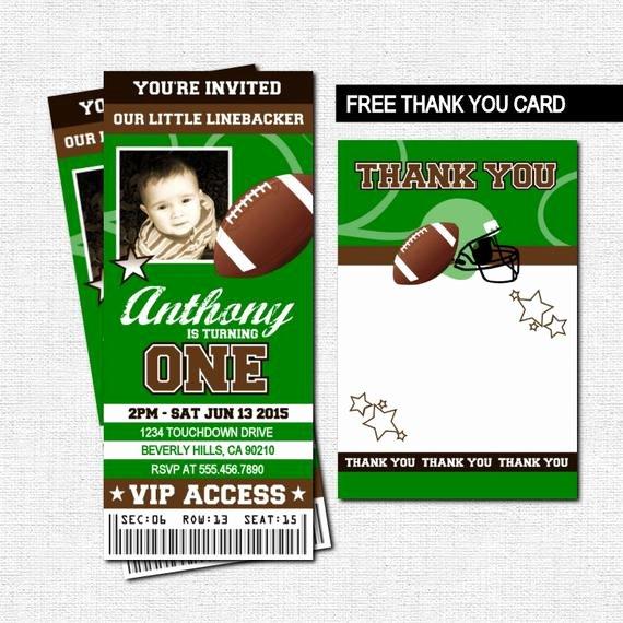 Football Ticket Birthday Invitations Awesome Football Ticket Invitations Birthday Party Thank You