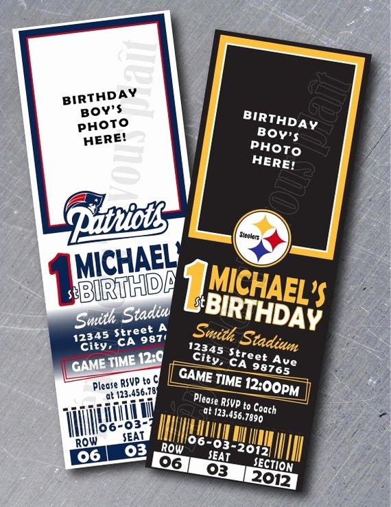 Football Ticket Birthday Invitations Awesome Items Similar to Sports Ticket Invitation Any Team On Etsy