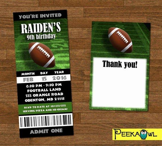 Football Ticket Birthday Invitations Awesome Printable Boys Football Invitation Ticket Boys Football