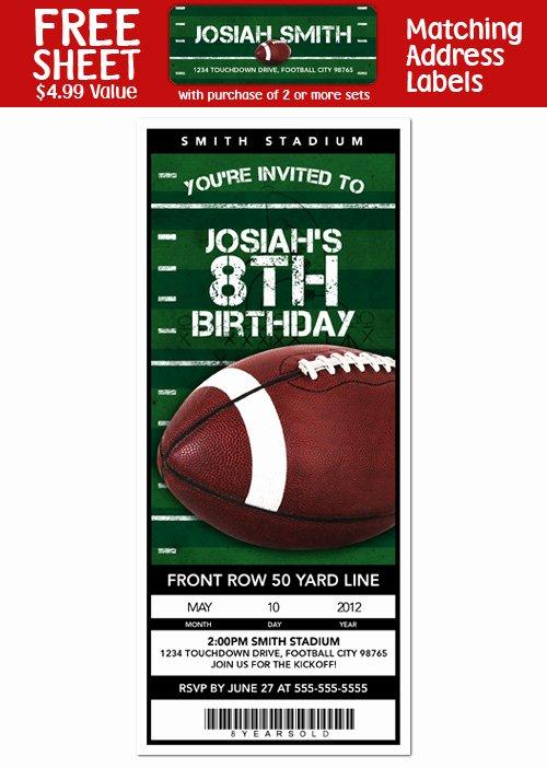 Football Ticket Birthday Invitations Beautiful 6 Football Birthday Party Personalized Ticket Style