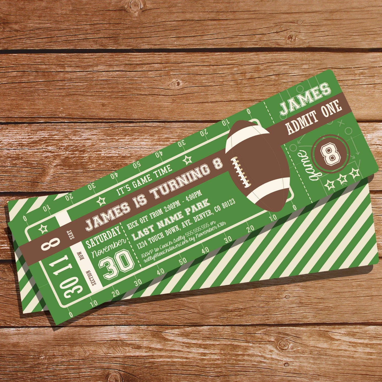 Football Ticket Birthday Invitations Beautiful Football Party Ticket Invitation Football Invitation
