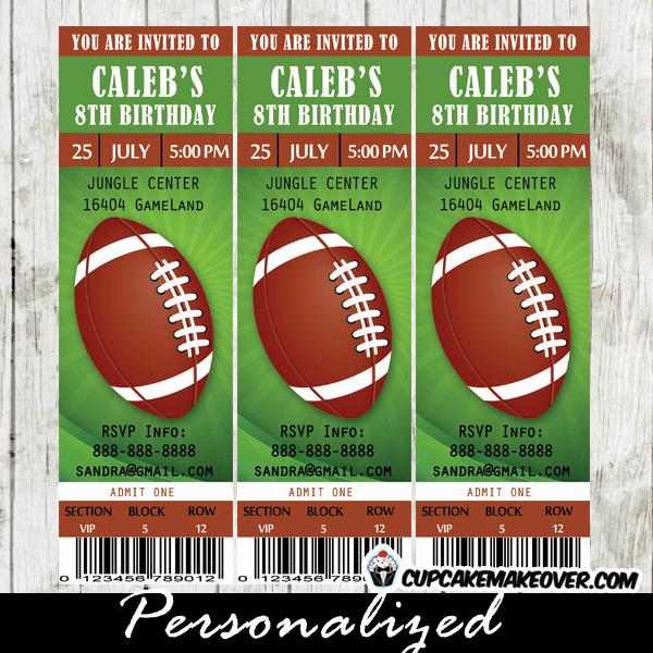 Football Ticket Birthday Invitations Beautiful Football Ticket Party Invitations Brown and Green Sports