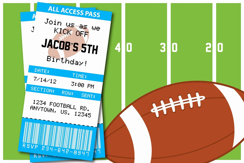 Football Ticket Birthday Invitations Elegant Football themed Birthday Party or Superbowl by