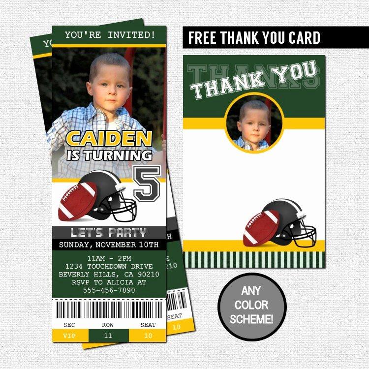 Football Ticket Birthday Invitations Elegant Football Ticket Invitations Birthday Party Thank You Card