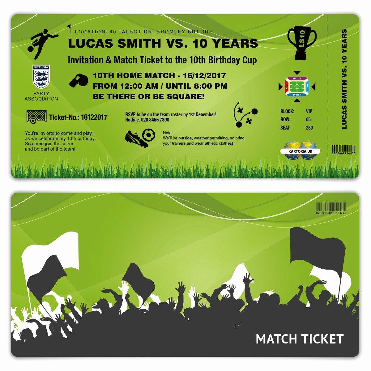 Football Ticket Birthday Invitations Elegant Kids Birthday Invitation Green Football Match Ticket