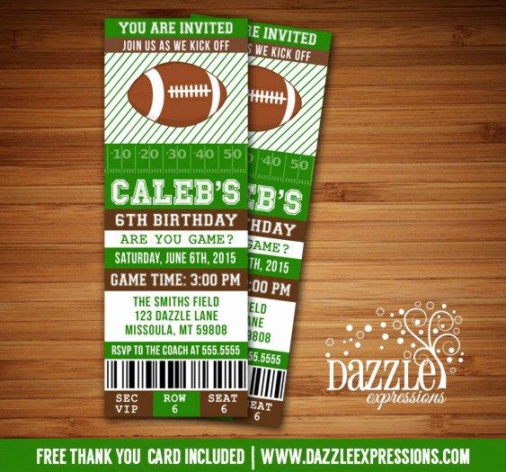 Football Ticket Birthday Invitations Elegant Printable Football Ticket Birthday Invitation Super Bowl