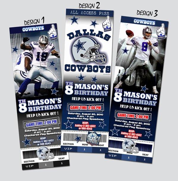Football Ticket Birthday Invitations Fresh Dallas Cowboys Ticket Birthday Party Invitation Football