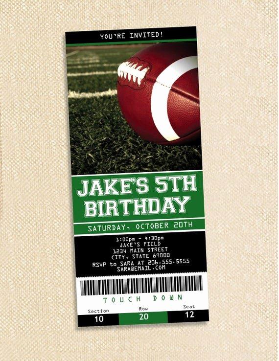 Football Ticket Birthday Invitations Fresh Football Ticket Birthday Invitations Set Of 35