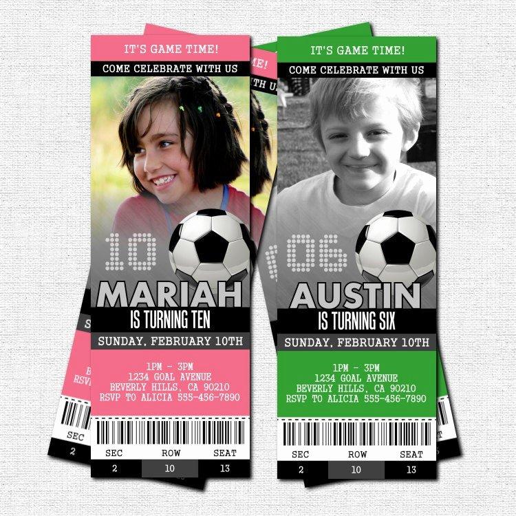 Football Ticket Birthday Invitations Fresh soccer Ticket Invitations Birthday Party Print Your by