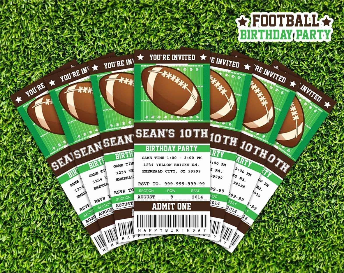 Football Ticket Birthday Invitations Lovely Football Ticket Invitation Printable Instant Download