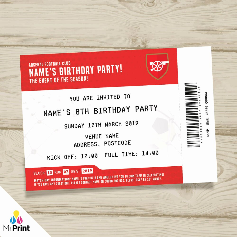 Football Ticket Birthday Invitations New Arsenal Fc Personalised Kids Adults Football Ticket Party
