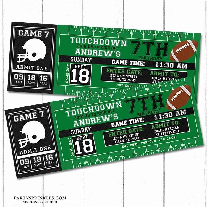 Football Ticket Birthday Invitations New Custom Football Printable Birthday Invitation Football Ticket