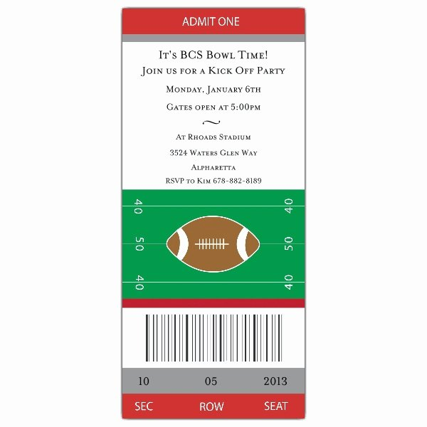 Football Ticket Template Beautiful Football Ticket Grey Red Invitations