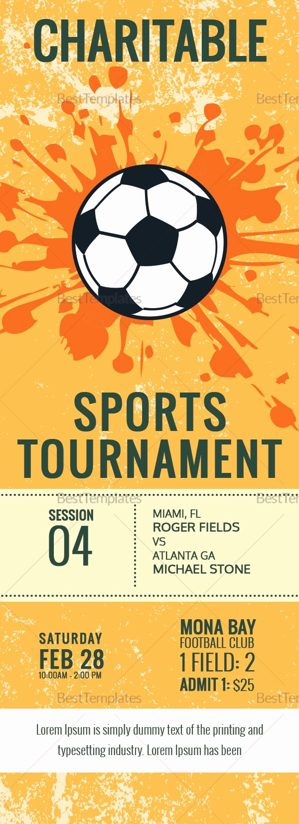 Football Ticket Template Beautiful Football tournament Ticket Design Template In Word Psd
