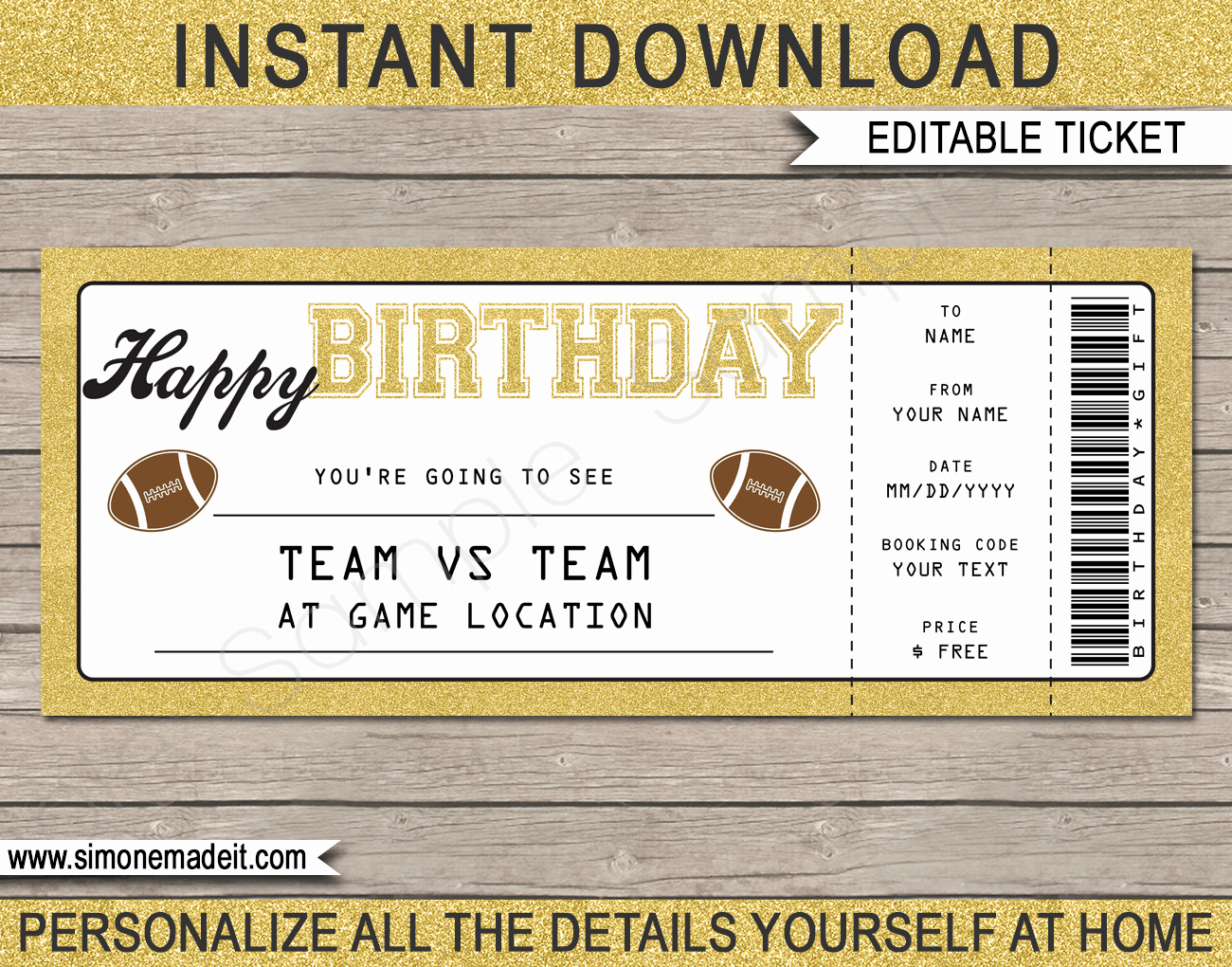 Football Ticket Template Beautiful Printable Football Game Ticket Gift