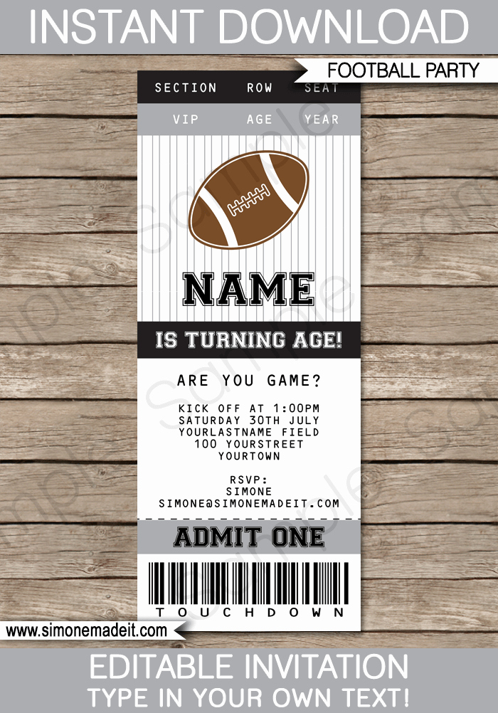 Football Ticket Template Best Of Black and Gray Silver Football Party Ticket Invitation