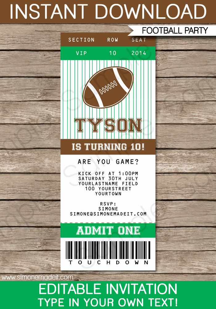 Football Ticket Template Elegant Football Ticket Invitation Template