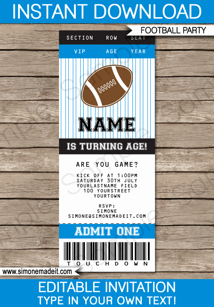 Football Ticket Template Fresh Black and Blue Football Printables Invitations & Decorations