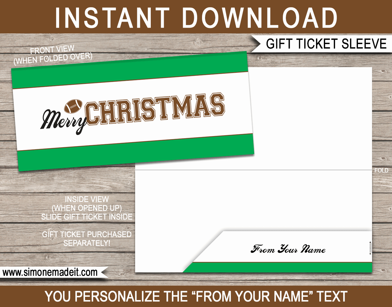 Football Ticket Template Fresh Football Christmas Gift Ticket Sleeve