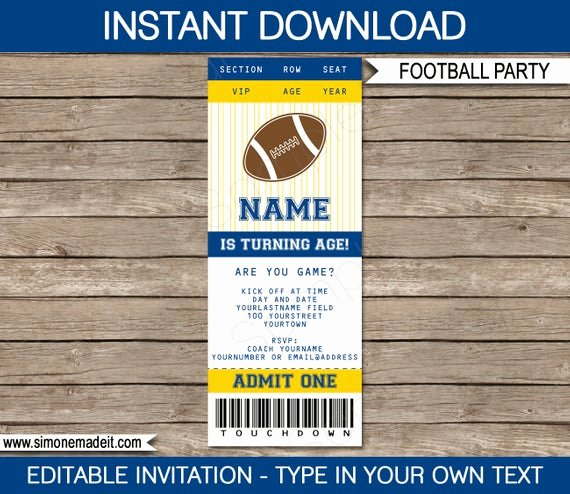 Football Ticket Template Fresh Football Ticket Invitation Template Birthday Party Navy