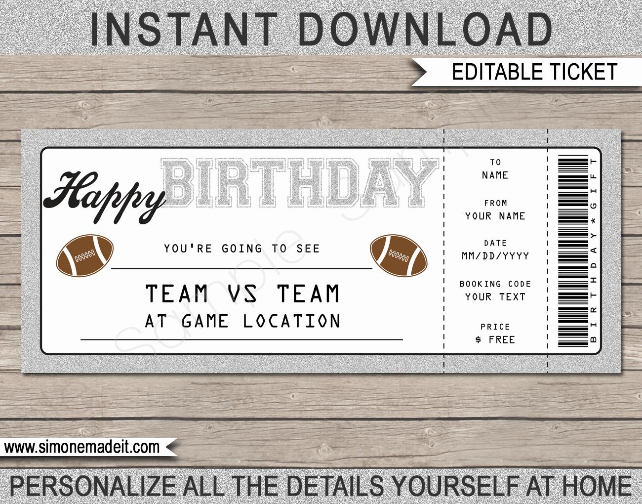 Football Ticket Template Inspirational Printable Birthday Football Game Ticket Gift