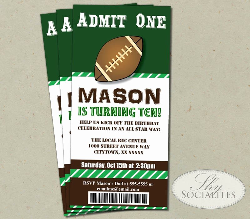 Football Ticket Template Luxury Football Ticket Printable Invitations Admit E Football