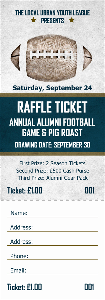 Football Ticket Template Unique Football Blue Raffle Ticket