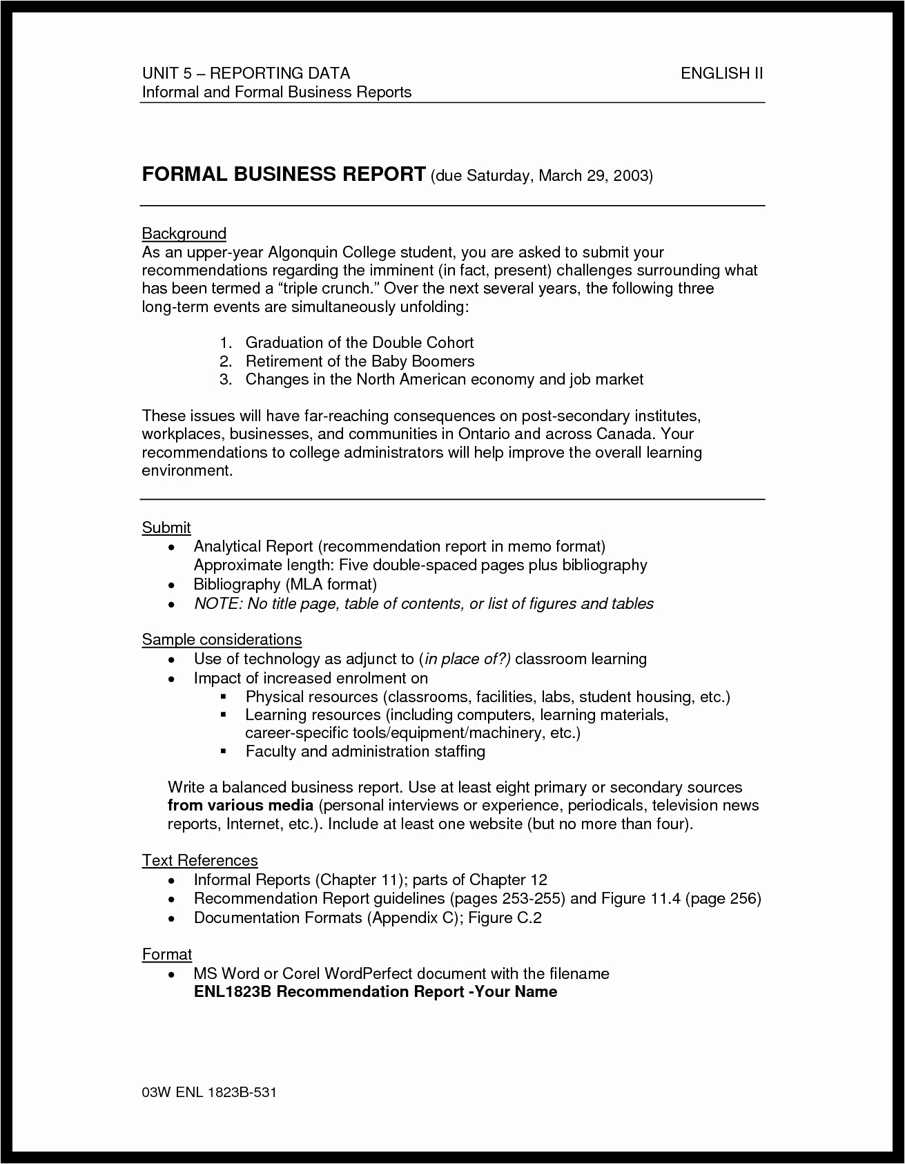 Formal Business Report Example Best Of Best S formal Report Sample Writing Analytical