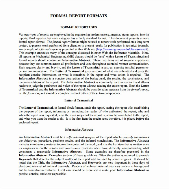 Formal Business Report Example Elegant Sample formal Report 25 Documents In Pdf Word Docs