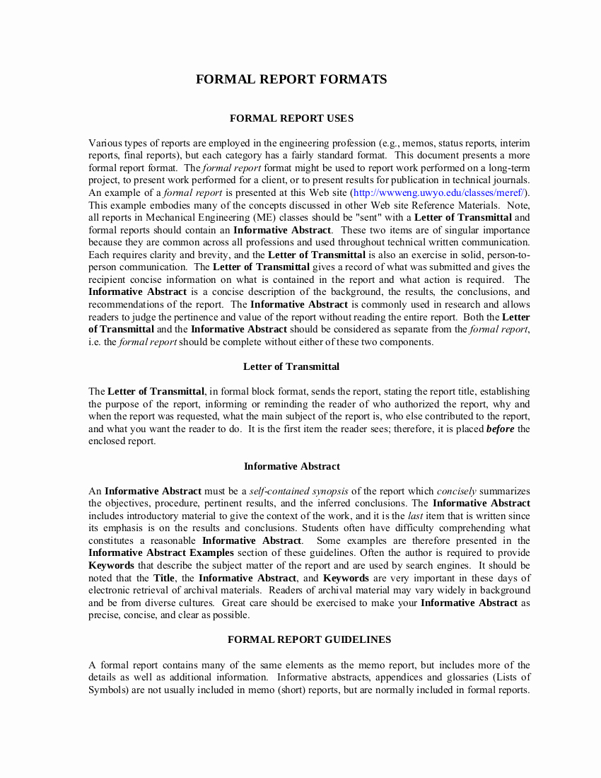 Formal Business Report Example Fresh 8 formal Report Template Examples Pdf