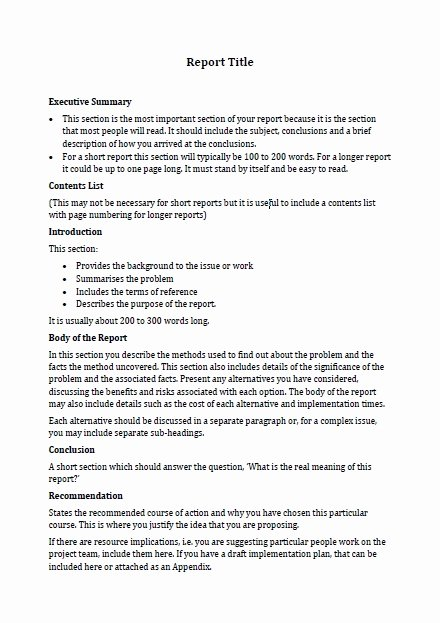 Formal Business Report Example New Business Report format