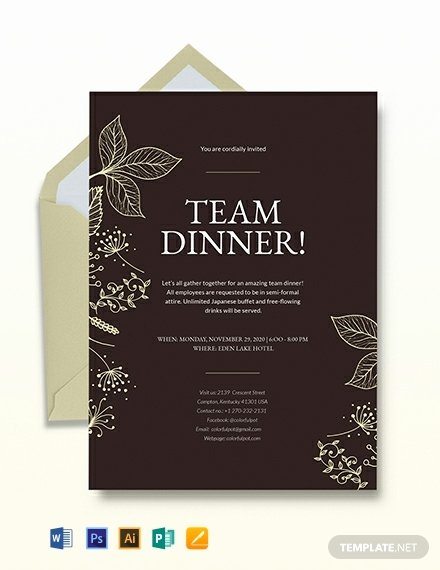 Formal Dinner Invitation Template Awesome Team Dinner Invitation Template Download 241 Invitations