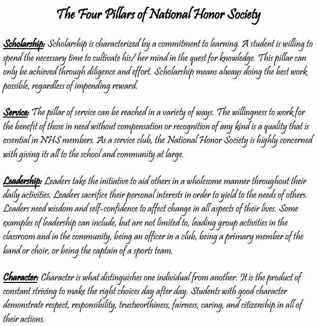 Four Pillars Of Nhs Essay New National Honor society Munity Service Letters Google