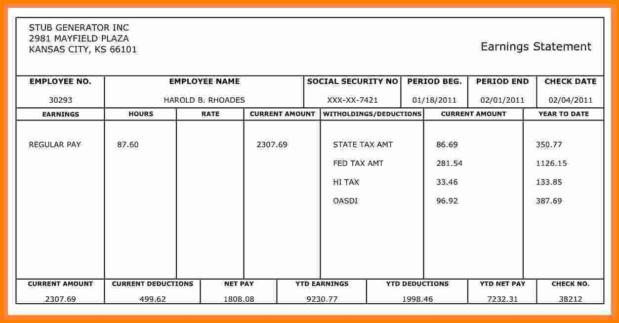 Free 1099 Pay Stub Template Elegant 8 Fillable Pay Stub
