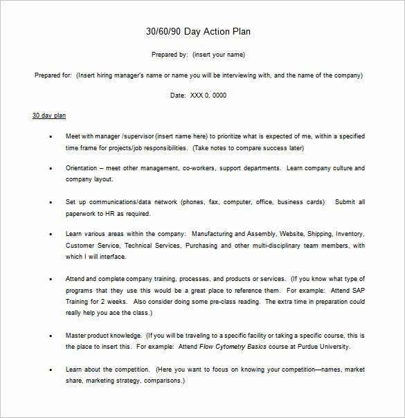 Free 30 60 90 Day Plan Template Word Unique 12 30 60 90 Day Action Plan Templates Doc Pdf