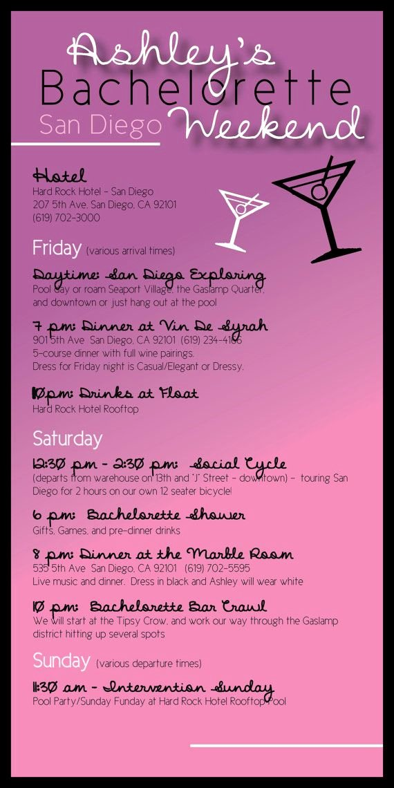Free Bachelorette Itinerary Template Beautiful Bachelorette Party Itinerary by Madewithloveinvites On