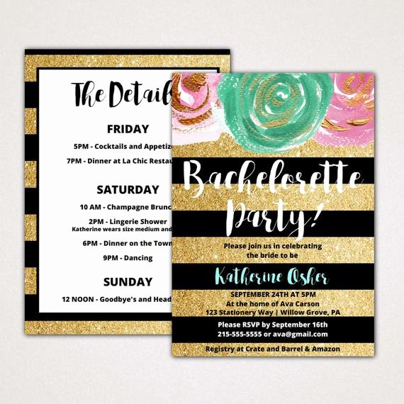 Free Bachelorette Itinerary Template Elegant Gold and Black Bachelorette Party Invitation with