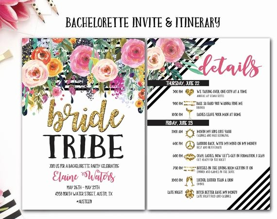 Free Bachelorette Itinerary Template Fresh Items Similar to Bachelorette Party Invite and Itinerary