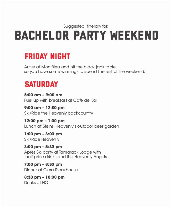 Free Bachelorette Itinerary Template Inspirational Weekend Itinerary Template 6 Free Pdf Documents
